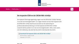 De Inspectie SZW en de CROW 400-richtlijn