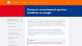 Protocol verantwoorden sporten kinderen t/m 12  en jeugd 13 t/m 18 jaar